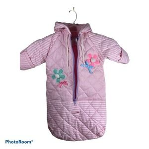 Baby Snowsuit 0-3 Months Stripes Flower Embroidery